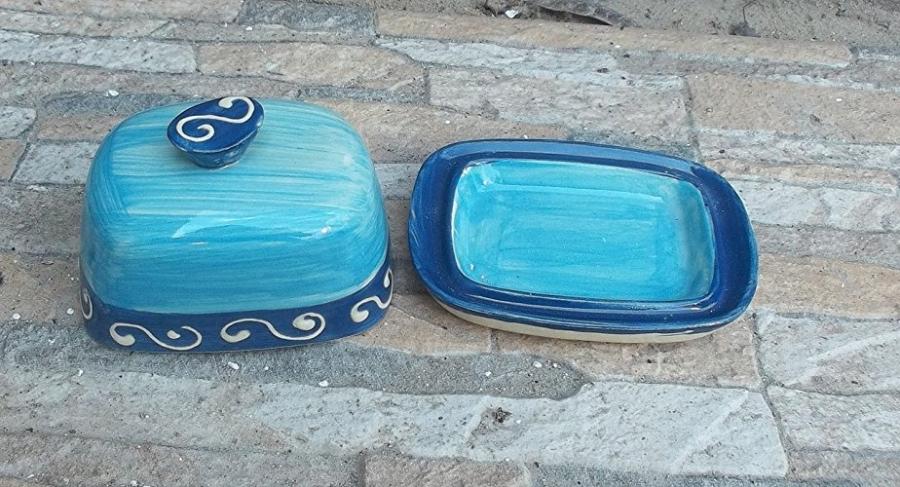 kleine butterdose f r 125g butter in blue ornamentic butter butterdose mangel. Black Bedroom Furniture Sets. Home Design Ideas